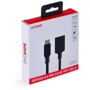 Adaptador OtG Tipo C Para USB 3.0 Para Celular Smartphone 15 cm Preto -P3AMUP-15 PCYES