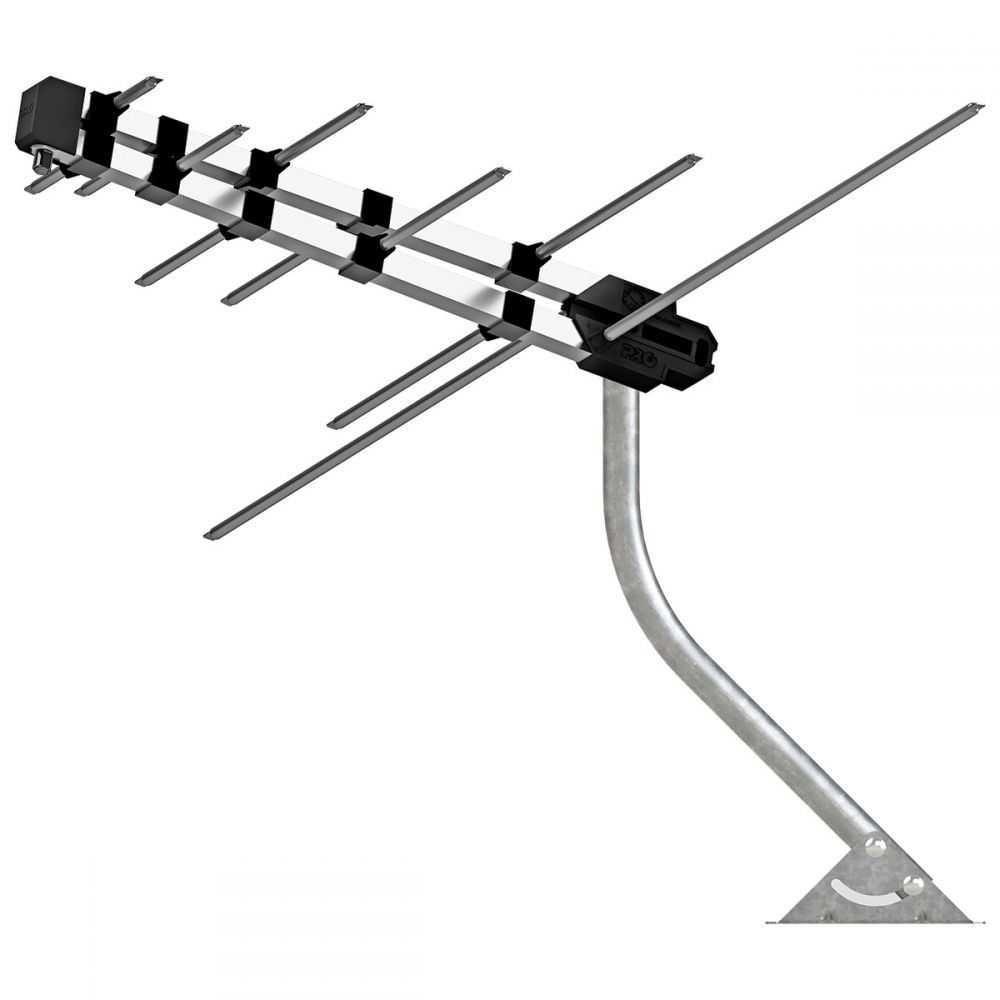 Antena HDTV Log 4 em 1 (VHF/UHF/FM/HDTV) Com Mastro e Cabo De 12 Metros PROELETRONIC