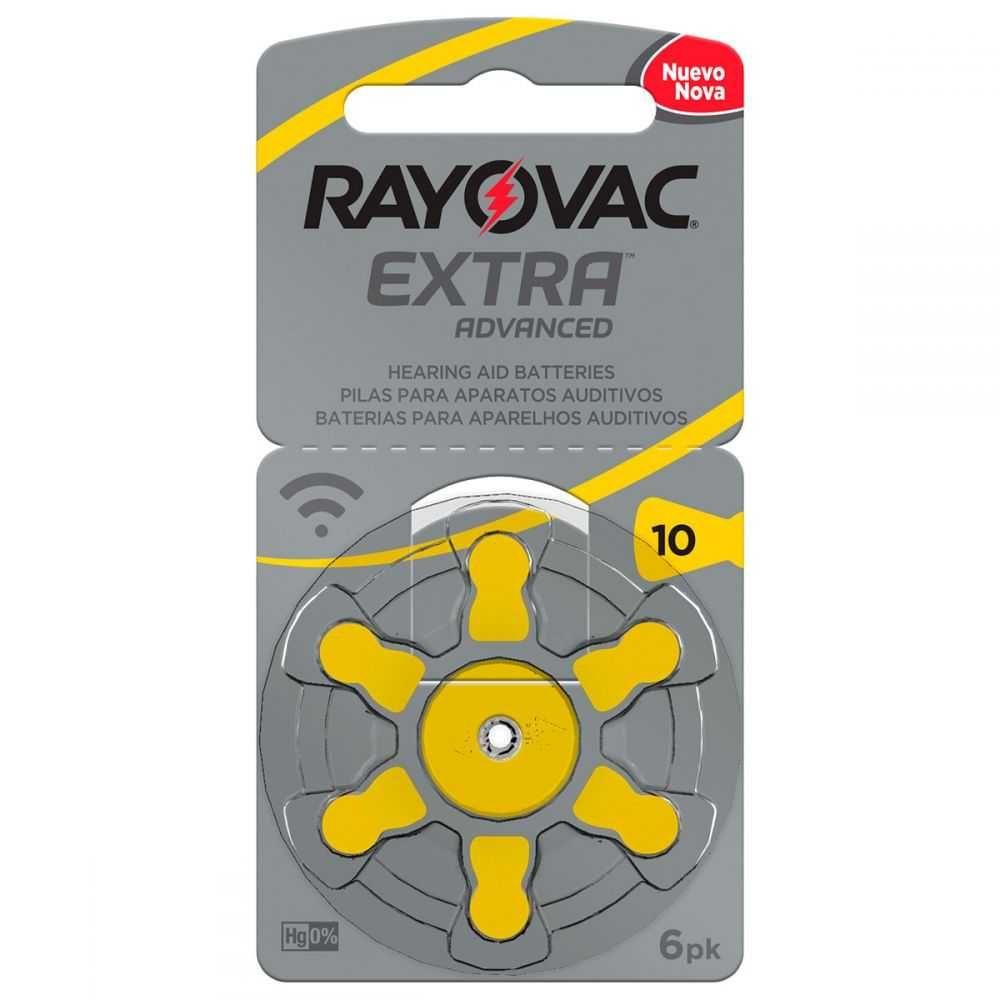 Bateria Auditiva Tamanho 10 com 6 10AUX-6XEBRA RAYOVAC