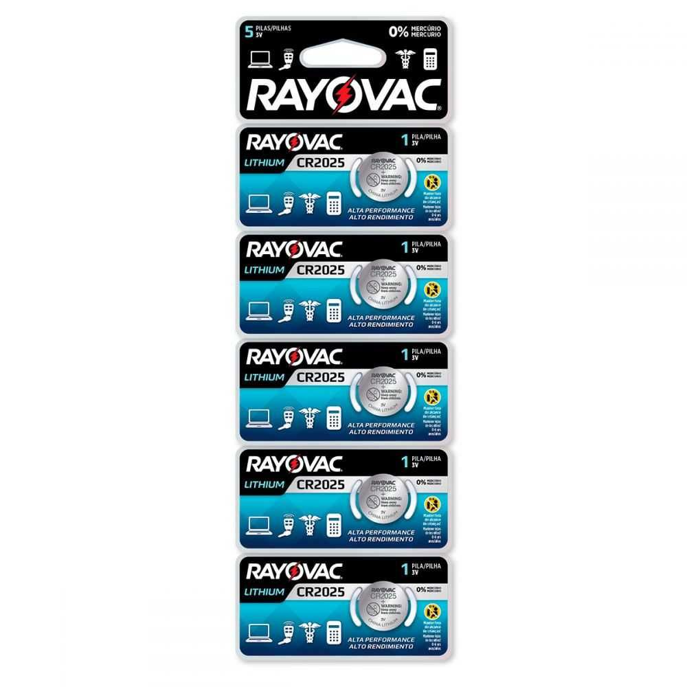 Bateria de Lithium 3V Cartela com 5 CR2025 RAYOVAC