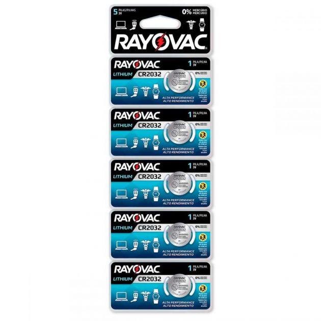 Bateria de Lithium 3V Cartela com 5 CR2032 RAYOVAC