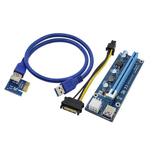 Cabo Riser Card PCI X16 Mini PCI-E X1 USB 60cm U34 p/ Mineiração VER006C