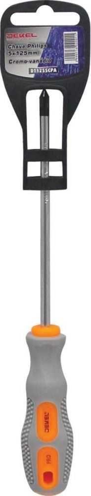 Chave Philips 5mm x 125mm Cromo-Vanadio Ponta Magnetizada DEKEL