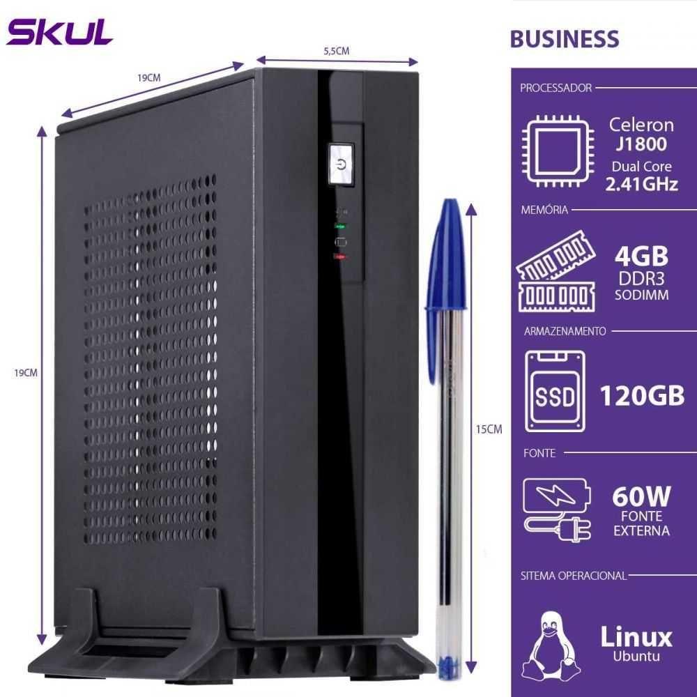 Computador Business B100 Mini Celeron Dual Core 2.41GHZ 4GB DDR3 SSD 120GB HDMI/VGA SKUL