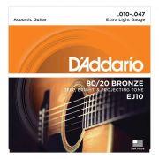 Encordoamento Para Violão Aço EJ10-B 80/20 Bronze D'ADDARIO