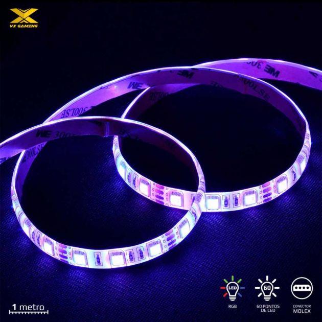 Fita de Led VX Gaming 60x Led RGB 1M conector Molex c/ controlador LRM1 VINIK