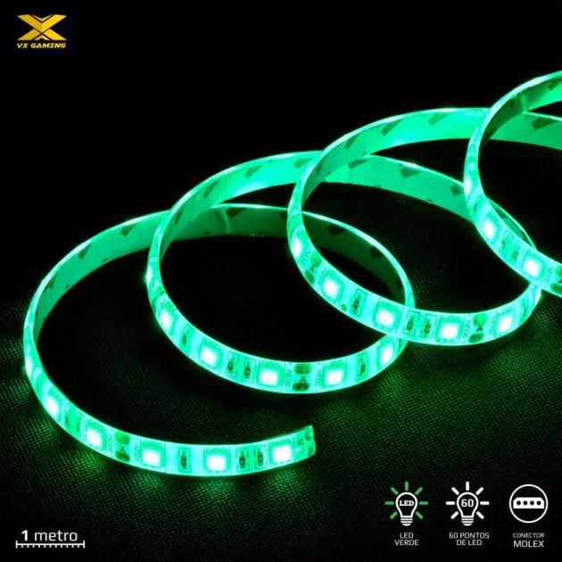 Fita de Led VX Gaming 60x Led Verde 1M c/ conector Molex LDM1 VINIK