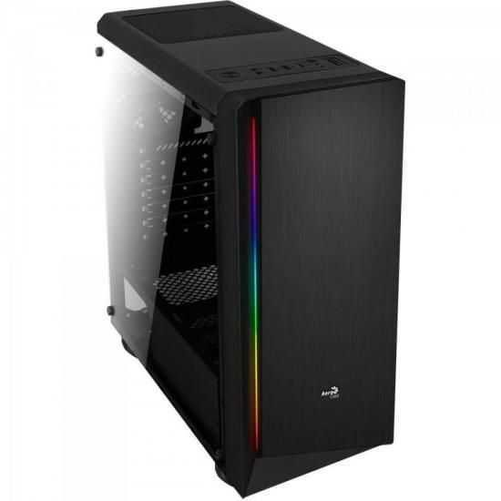 Gabinete Gamer Mid Tower RGB Rift Preto AEROCOOL
