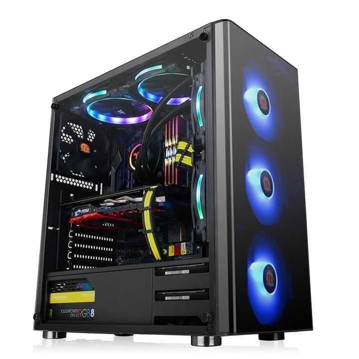 Gabinete V200 Vidro Temperado com 3 Fans RGB CA-1K8-00M1WN-01 THERMALTAKE