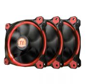 Kit 3 Coolers Riing 12 LED Red 12cm Preto e Vermelho CL-F055-PL12RE-A THERMALTAKE