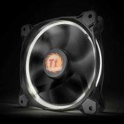 Kit 3 Coolers Riing 12 LED White 12cm Preto e Branco CL-F055-PL12WT-A THERMALTAKE