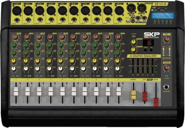 Mesa de Som Amplificada 10 Canais 500W com MP3, Entrada USB, Efeitos VZ-100 II SKP