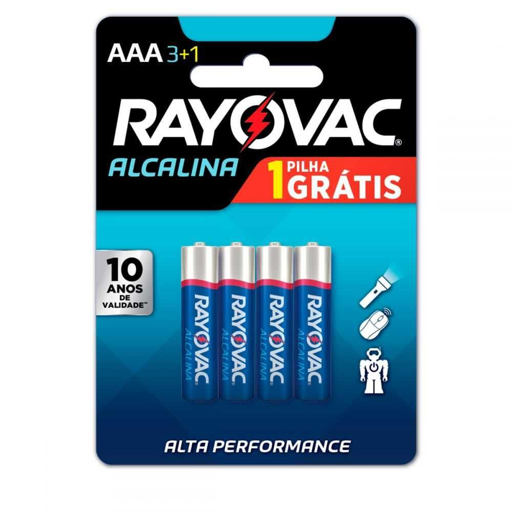 Pilha Alcalina AAA com 4UN 20324 RAYOVAC
