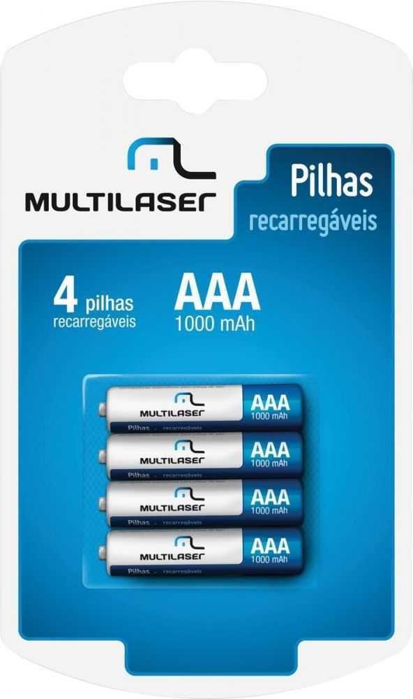 Pilha Recarregável aaa 1000mah CB050 (com 4 pilhas) MULTILASER