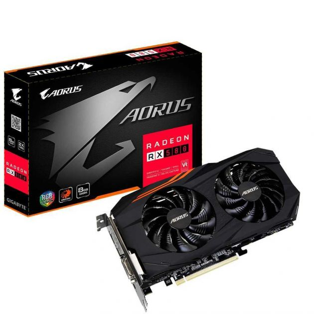 Placa de Vídeo AMD AORUS Radeon RX 580 8GB GDDR5 GV-RX580AORUS-8GD GIGABYTE