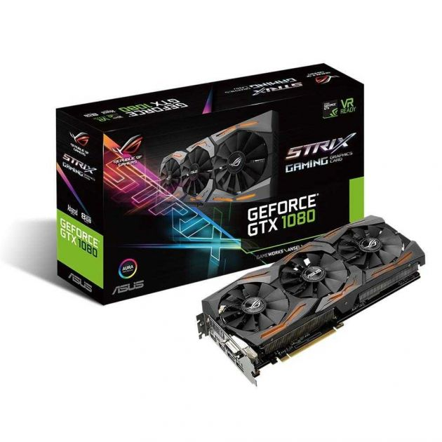 Placa de Vídeo NVIDIA GeForce GTX 1080 Strix RGB 8GB GDDR5X STRIX-GTX1080-A8G-GAMING ASUS