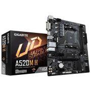Placa Mãe A520M-H AMD AM4 Micro ATX DDR4 Ryzen 3/Geração GIGABYTE