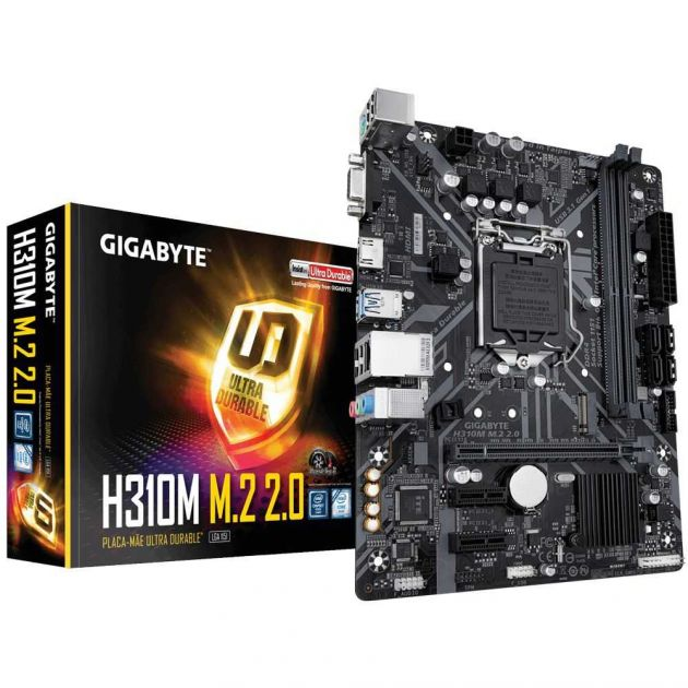 Placa Mãe H310M M.2 2.0 DDR4 Intel LGA1151 8°/9° Geração M-ATX GIGABYTE